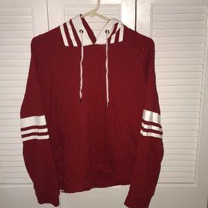 Red varsity sweatshirt